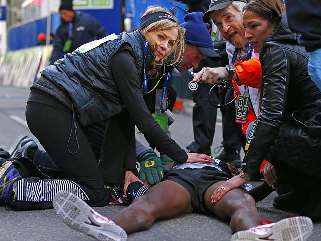 """Farah later said the post-race fall was """"no big deal""""."""