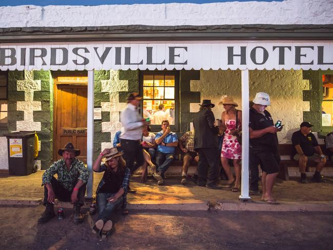 People swarm to the Birdsville Hotel after the races finish.