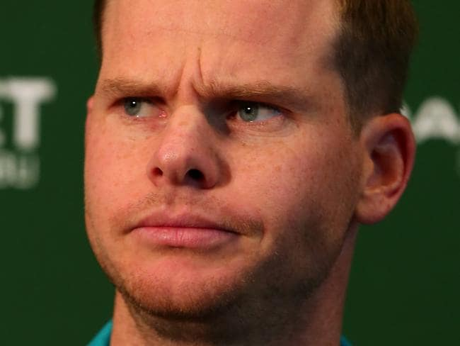Australian Test captain Steve Smith speaks to the media during the team announcement at the Qantas domestic terminal at Brisbane Airport in Brisbane, Friday, November 17, 2017. (AAP Image/David Clark) NO ARCHIVING