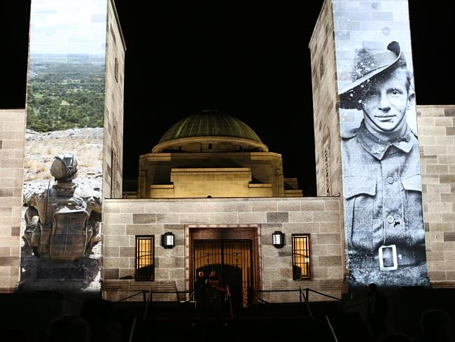 Thousands gathered for the Anzac Day service at the Australian War Memorial in Canberra. Picture: Gary Ramage