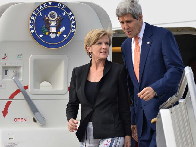 US Secretary of State John Kerry, Foreign Affairs minister Julie Bishop as Mr Kerry arrives in Sydney. Pic: AP.