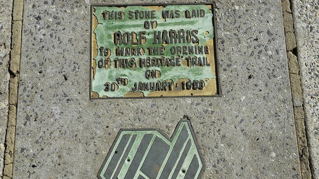The Rolf Harris plaque which was stolen earlier today. Picture: Theo Fakos