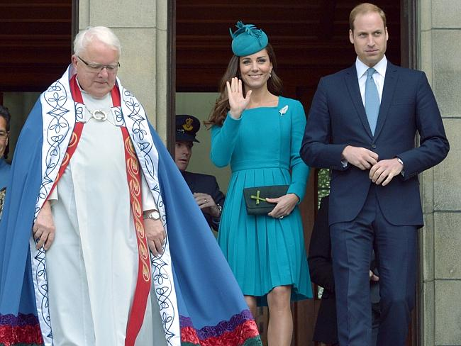 Royal occasion ... The Dean of St. Paul's Cathedral, the Very Rev. Trevor James is joined by Prince William and his wife Kate, the Duchess of Cambridge, after a Palm Sunday service at the Cathedral in Dunedin. Pic: AP Photo/Gerrard O'Brien, Pool)