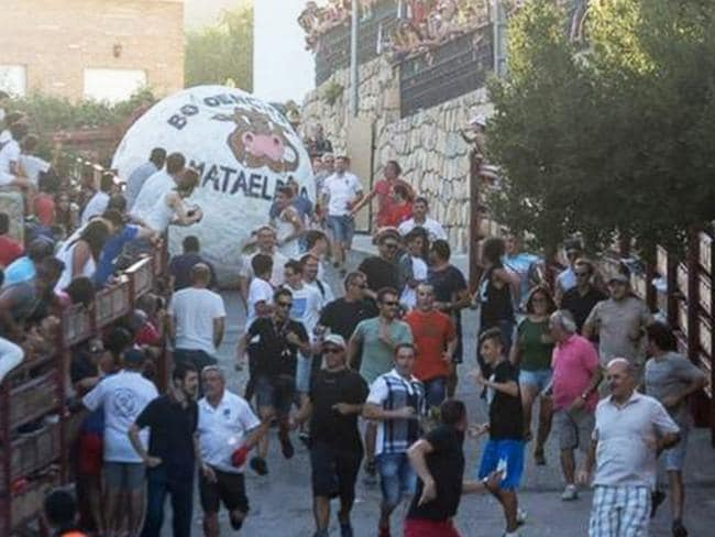 "The ""running of the balls"" in Mataelpino, Spain. Picture: Supplied"