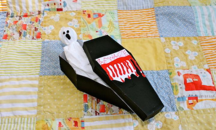 "24. Make a spooky coffin  <p>You can keep all sorts of treats in here, but the best occupant is a ghost lollipop (see no. 11)</p> <p><a href=""http://www.kidspot.com.au/things-to-do/activities/make-a-spooky-coffin"">See here for how to Make a spooky coffin.</a></p>"