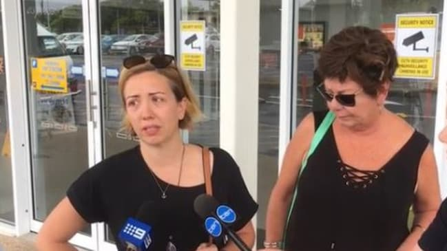 Ruben McDornan's wife Sammy, left, fought back tears as she spoke of her husband's survival and his missing mates. Picture: Liam Kidston