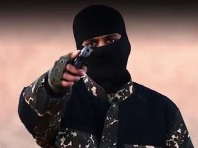 Disgraceful ... a masked killer threatens British Prime Minister David Cameron in a new ISIS video. Picture: YouTube