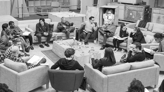 J.J Abrams (top centre right) at a cast read-through of  <i>Star Wars Episode VII </i>with (clockwise from right) Harrison Ford, Daisy Ridley, Carrie Fisher, Peter Mayhew, Producer Bryan Burk, Lucasfilm President and Producer Kathleen Kennedy, Domhnall Gleeson, Anthony Daniels, Mark Hamill, Andy Serkis, Oscar Isaac, John Boyega, Adam Driver and Writer Lawrence Kasdan. Picture: David James.