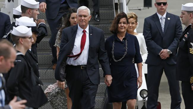 US Vice President Mike Pence arrived in Japan on Monday as partial of a 10-day outing to Asia that comes amid misunderstanding on a Korean Peninsula over North Korea's threats to allege a chief and counterclaim capabilities, and only after a unsuccessful barb launch by a North. Picture: AP Photo/Shuji Kajiyama.