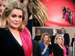 Catherine Deneuve with Sara Forestier, Rod Paradot, Emmanuelle Bercot and Benoit Magimel attend the opening ceremony and premiere of 'La Tete Haute' ('Standing Tall') during the 2015 Cannes Film Festival. Picture: Getty
