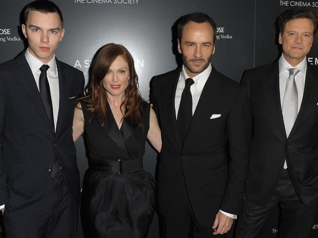 Nicholas Hoult, Julianne Moore, Director/writer Tom Ford and actor Colin Firth promote Ford's first film, A Single Man. Picture: Getty