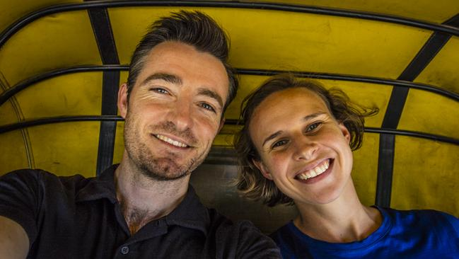 And here's Chris and Jess Bray in a rickshaw speeding crazily through the traffic chaos one last time to the airport! What an amazing story to be a part of! Picture: Chris Bray