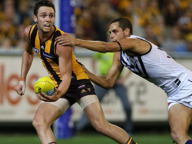 Round 3: Hawthorn v Fremantle. Picture Wayne Ludbey. Jack Gunston and Michael Johnson.