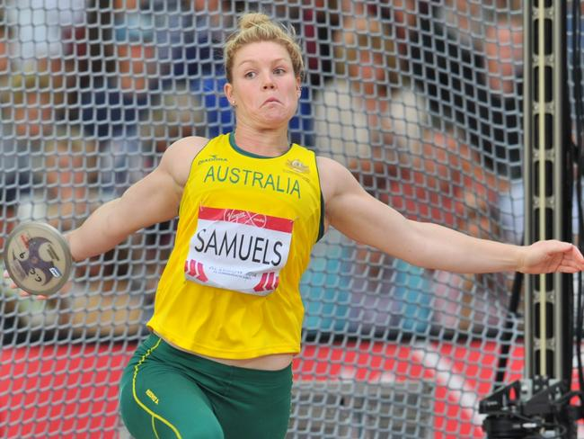 Australia's Dani Samuels winds up in the discus circle on her way to gold.