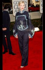 Aussie Cate Blanchett got it wrong in this interesting pantsuit at the 2002 Golden Globes. Picture: Kevin Mazur/WireImage