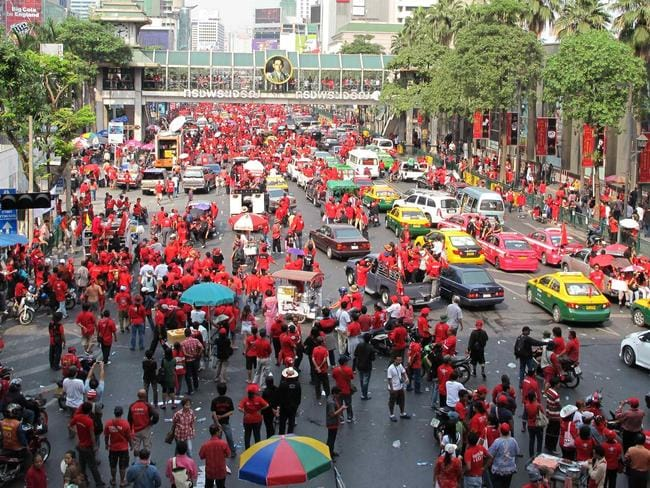 Red Shirts march in Bangkok in 2011. Picture: Sian Powel