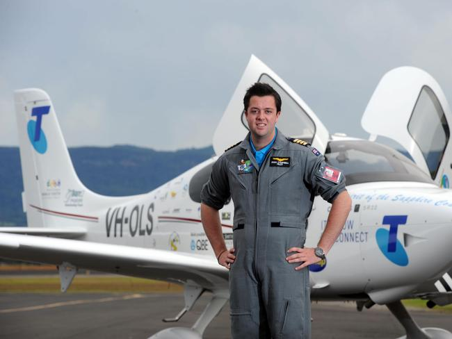 Take flight ... Australian pilot and current record holder for youngest person to fly around the world, Ryan Campbell.