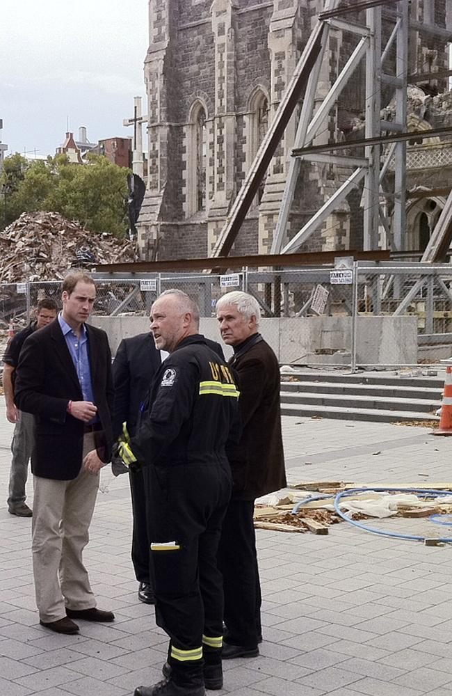Destruction ... Prince William inspects earthquake damage in Christchurch's CBD in 2011.