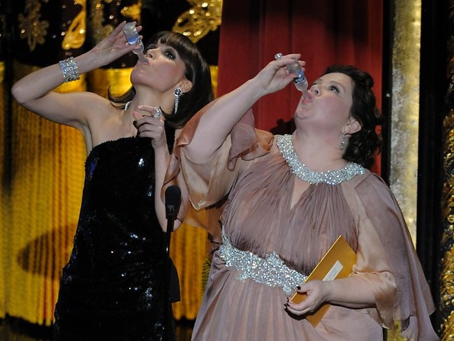 """Members of the cast of """"Bridesmaids"""" Rose Byrne and Melissa McCarthy. Picture: AP"""