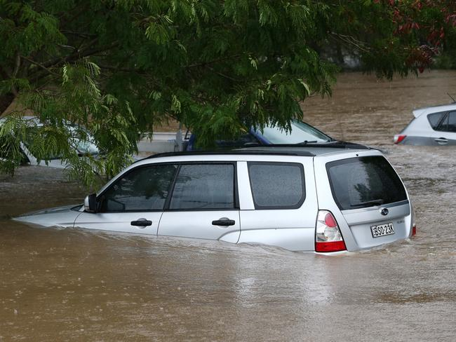 Cars submerged at Robina Hospital on the Gold Coast. Picture: Nigel Hallett