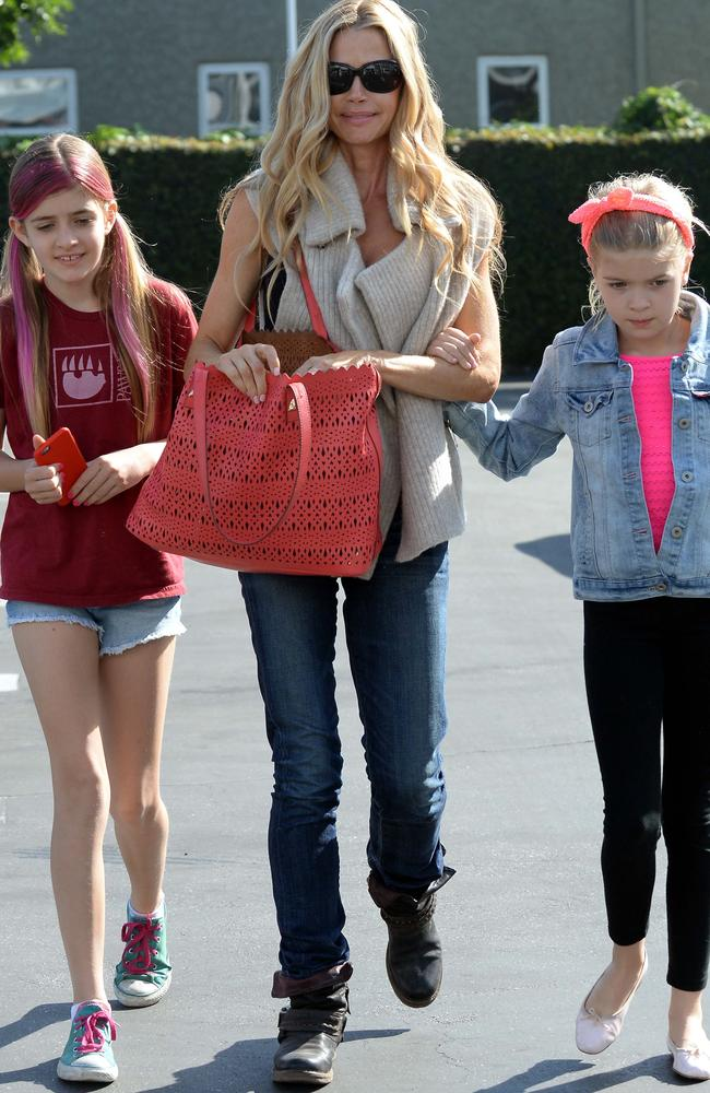 Unhappy family ... sources say Charlie Sheen's daughters with Denise Richards, Sam and Lola, are afraid of him. Picture: Splash News
