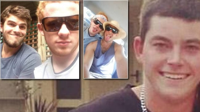 Josh Bell (dark hair inset), was injured and Charlie Robertson (light hair, inset) killed instantly in a car driven by Bradley Nicholson (right). Picture: Supplied