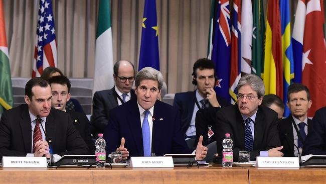 US Secretary of State John Kerry speaks during an anti-Daesh summit with the Foreign Ministers of 23 countries. Picture: AFP/Alberto Pizzoli