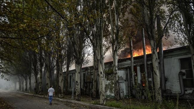 Checkpoint attack ... the city of Donetsk, which came under fire on Monday, has been hit by a suicide bomber.