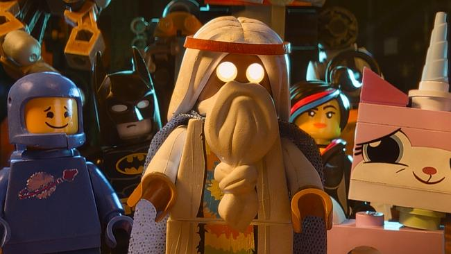 Box office hit ... (from left) characters Benny, voiced by Charlie Day, Batman, voiced by Will Arnett, Vitruvius, voiced by Morgan Freeman, Wyldstyle, voiced by Elizabeth Banks and Unikitty, voiced by Alison Brie, in a scene from  <i>The Lego Movie</i>. Picture: AP/Warner Bros.