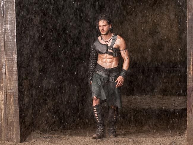 Is there a better six-pack anywhere ... Milo (Kit Harington) in Paul W.S. Anderson's Pompeii.