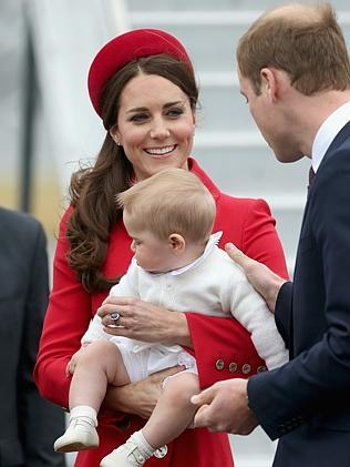 Catherine, Duchess of Cambridge, Prince William, Duke of Cambridge and Prince George arrive at Wellington Military Terminal. Picture: Getty Images