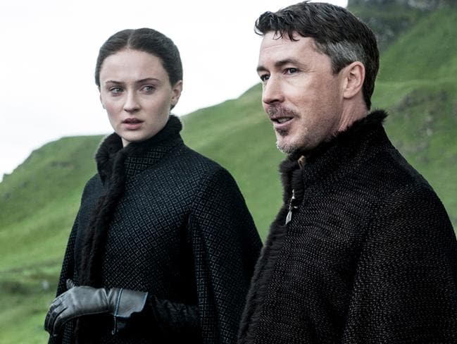 Game of Thrones ... Sophie Turner as Sansa Stark and Aidan Gillen as Littlefinger. Picture: Helen Sloan/HBO
