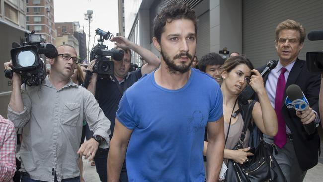 Shia LaBeouf leaves court in June following his arrest for yelling obscenities during broadway's Cabaret.