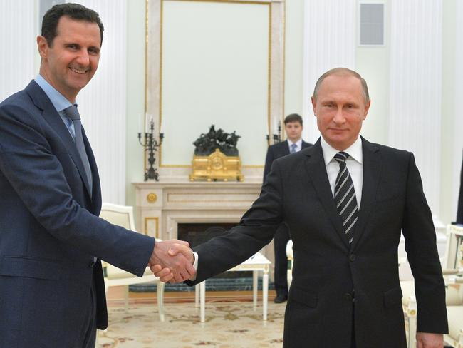 Russian President Vladimir Putin with Syrian President Bashar Assad. Picture: AP