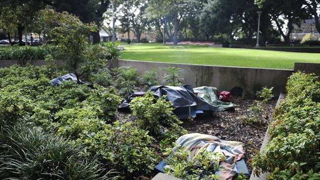 Rough sleepers in Sydney's Hyde Park. Picture: Phil R...