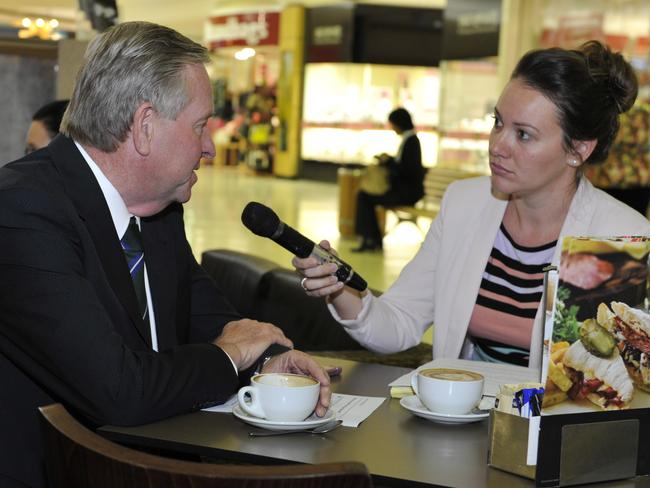 Reporter Yasmine Phillips with Premier Colin Barnett during today's Coffee with Colin at Belmont Forum. Picture: Justin Benson-Cooper