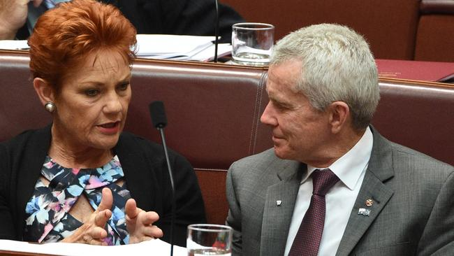 One Nation senators Pauline Hanson and Malcolm Roberts.