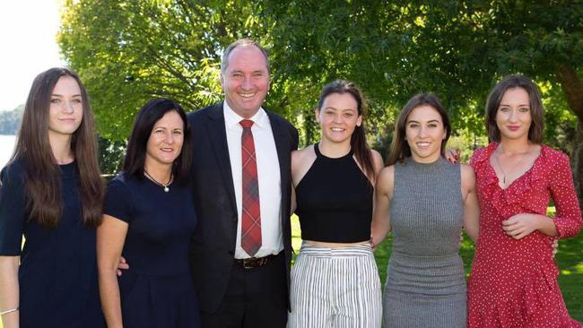 Natalie Joyce, wife of Deputy Prime Minister Barnaby Joyce is pictured with her daughters (L-R): Odette, Caroline, Julia, Bridgette. Picture: Facebook.