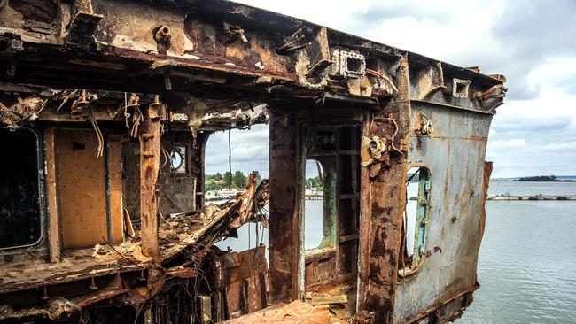 This decayed ship is nothing more than an empty container. Picture: Vladimir Mulder/Caters News