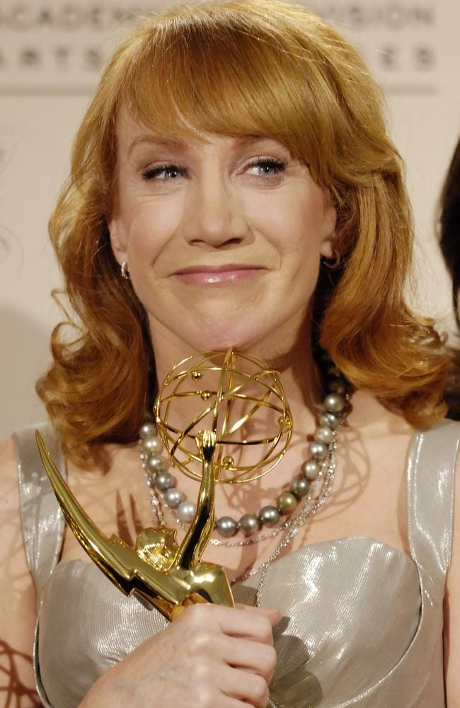 Kathy Griffin poses backstage with her Emmy. Picture: AP.