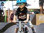People enjoying the Santos Festival of Cycling in Victoria Square, Adelaide. Hughson, 3, of Marion. (AAP IMAGE/Dean Martin)