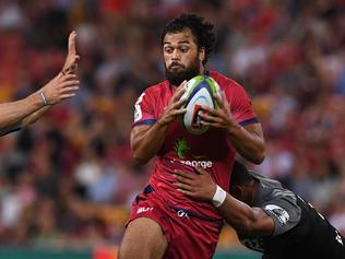 Reds player Karmichael Hunt during the 3rd round Super Rugby match between the Queensland Reds and the Canterbury Crusaders at Suncorp Stadium in Brisbane, Saturday, Mar. 11, 2017. (AAP Image/Dave Hunt) NO ARCHIVING, EDITORIAL USE ONLY