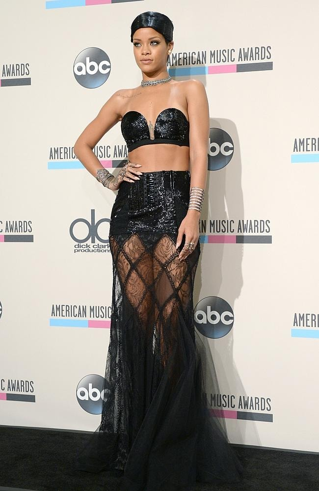 Rihanna in a fancy bra and undies at the American Music Awards. Picture: Getty