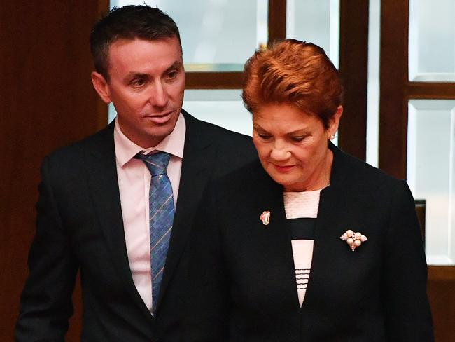 One Nation leader Senator Pauline Hanson and her adviser James Ashby. Picture: Mick Tsikas/AAP