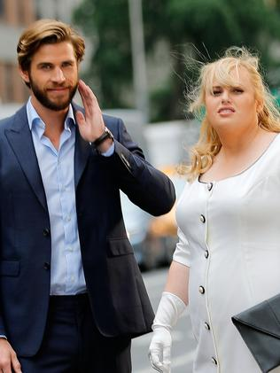 Liam Hemsworth and Rebel Wilson during scenes from movie Isn't It Romantic.