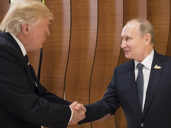 Donald Trum meets Vladimir Putin at the opening of the G20 summit in Hamburg, Germany. Picture: Getty