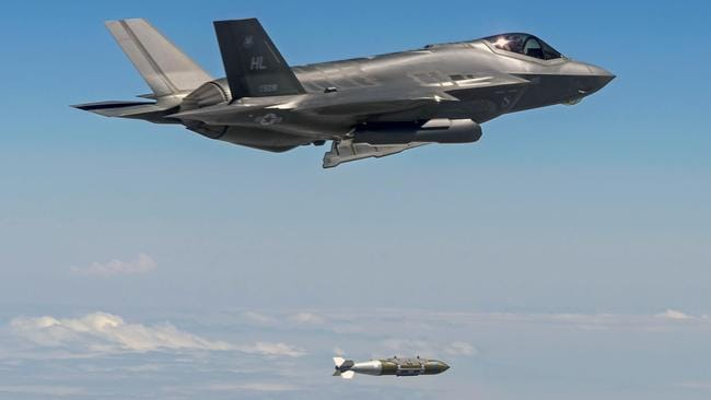 An F-35A Lightning II drops a 2000-pound GBU-31 bomb over the Utah Test and Training Range. Picture: USAF