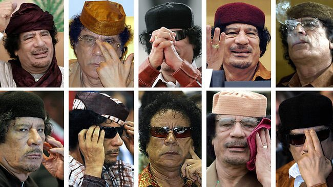 """The many faces of Colonel Muammar Gaddafi, the dictator President Reagan called """"Mad Dog"""". Picture: AP"""