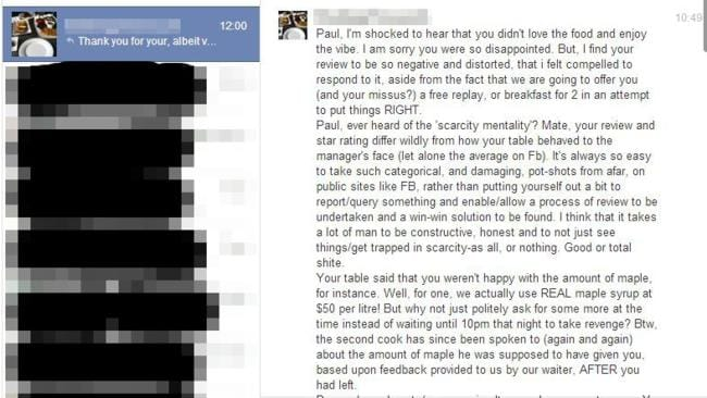 The enraged rant Paul received via Facebook.