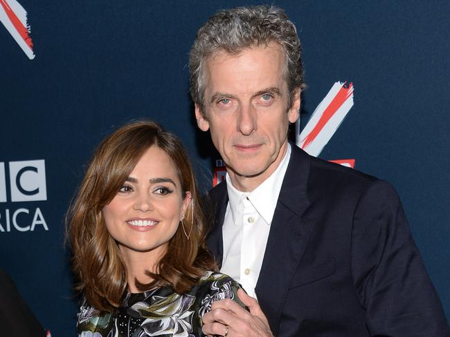 Something new ... Peter Capaldi and Jenna Coleman attend the BBC America's Doctor Who premiere in New York. Picture: Evan Agostini/AP